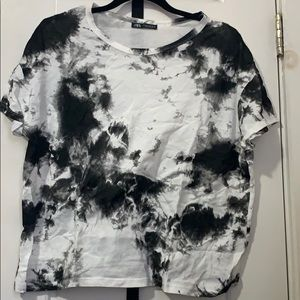 Zara Black and White Cropped Cotton Shirt M NWOT